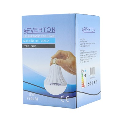 EVERTON RT-2007A 7 WATT E27 220 V ŞARJLI BEYAZ LED AMPUL 6500 K