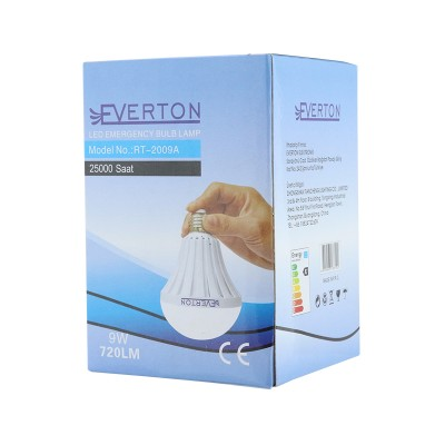 EVERTON RT-2009A 9 WATT E27 220 V ŞARJLI BEYAZ LED AMPUL 6500 K